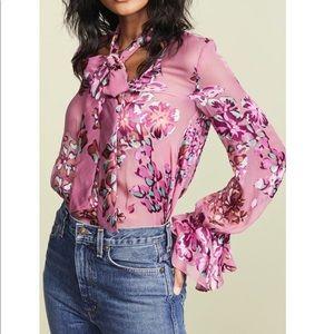 Saloni pink Lauren blouse floral top